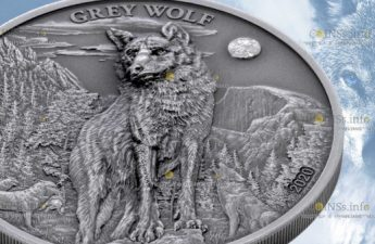 Палау монета 5 долларов Сервый Волк