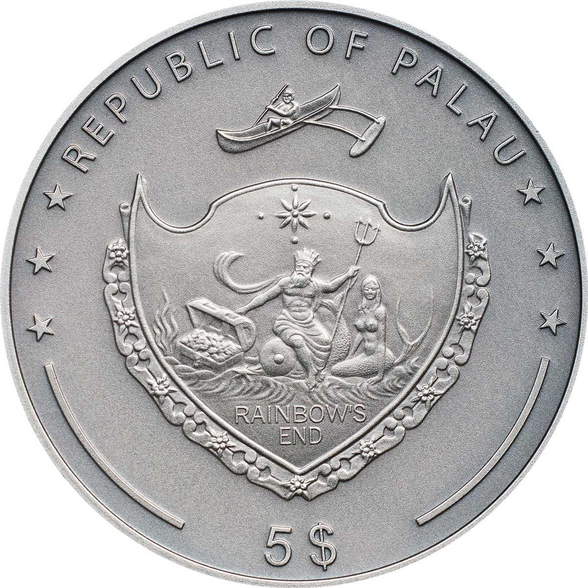 Палау монета 5 долларов Сервый Волк, аверс