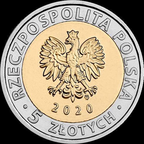 Польша монета 5 злотых 2020 год, биметалл, аверс