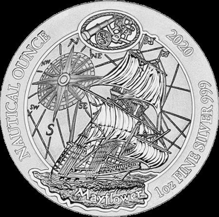 Руанда монета 50 франков Судно Mayflower, реверс