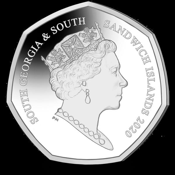Южная Георгия и Южные Сандвичевы монета 50 пенсов Антарктический пингвин, аверс