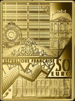 Франция монета 50 евро Автопортрет Ван Гога, аверс