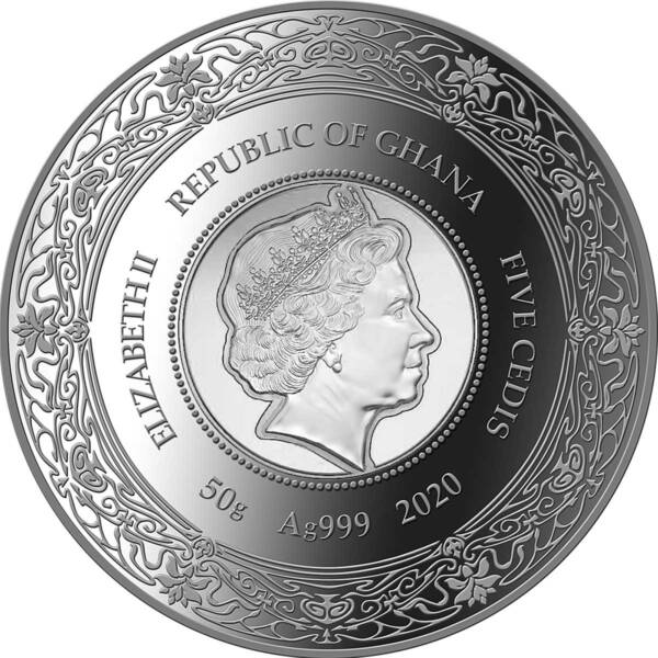 Гана монета 5 седи Богиня Гигиея, аверс