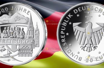 Германия монета 20 евро 900 лет со дня основания Фрайбурга