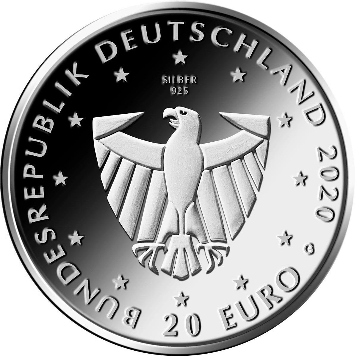Германия монета 20 евро 900 лет со дня основания Фрайбурга, аверс