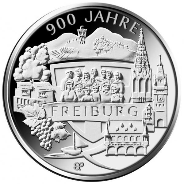 Германия монета 20 евро 900 лет со дня основания Фрайбурга, реверс