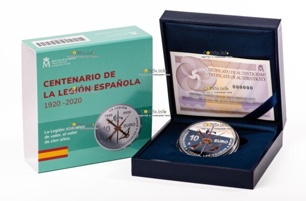 Испания монета 10 евро 100-летие Испанского легиона, подарочная упаковка