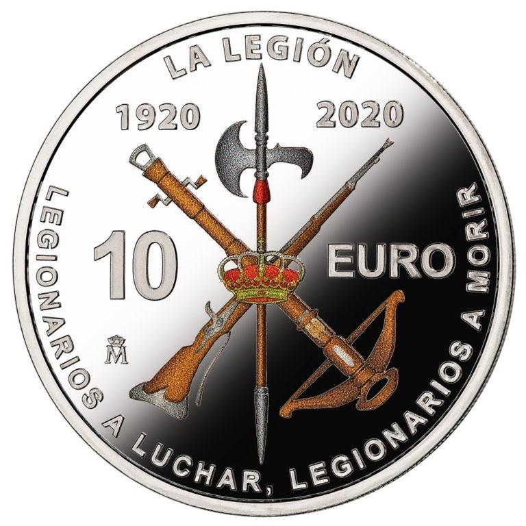 Испания монета 10 евро 100-летие Испанского легиона, реверс