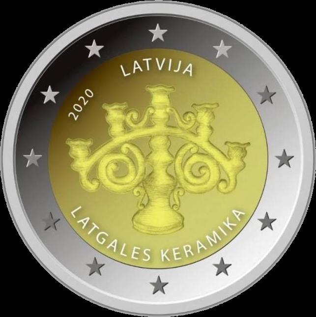 Латвия монета 2 евро Латгальская керамика,реверс