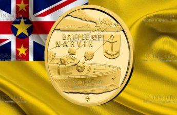 Ниуэ монета 5 долларов Битва при Нарвике