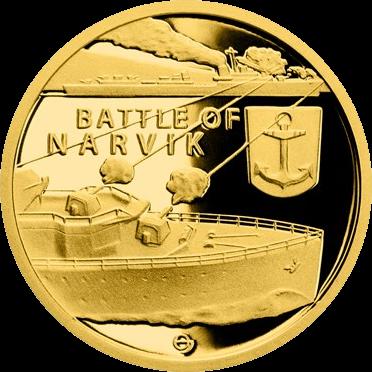 Ниуэ монета 5 долларов Битва при Нарвике, реверс
