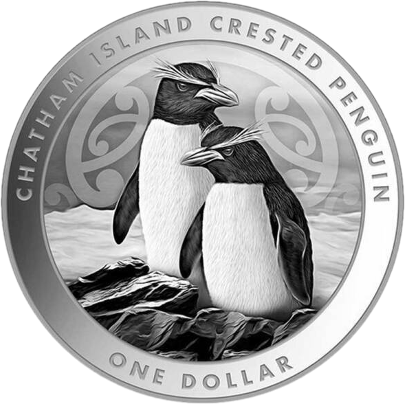 Новая Зеландия монета 1 доллар Чатемский пингвин, реверс