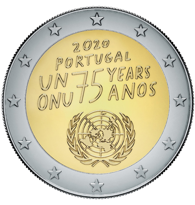 Португалия монета 2 евро 75-летию Организации Объединенных Наций, реверс