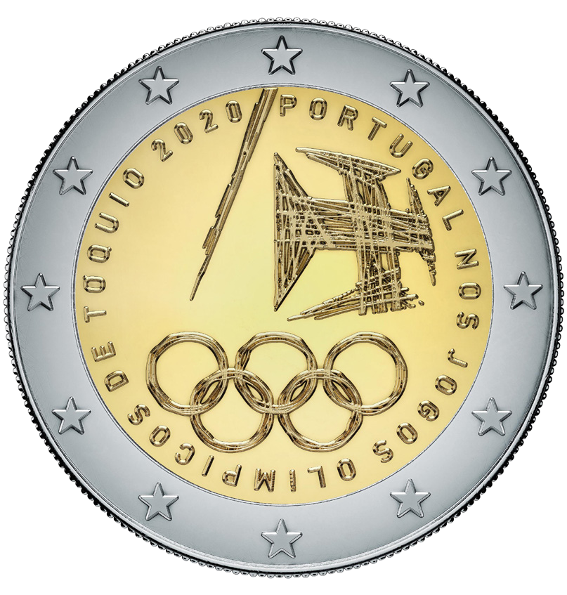 Португалия монета 2 евро Олимпийские игры в Токио, реверс