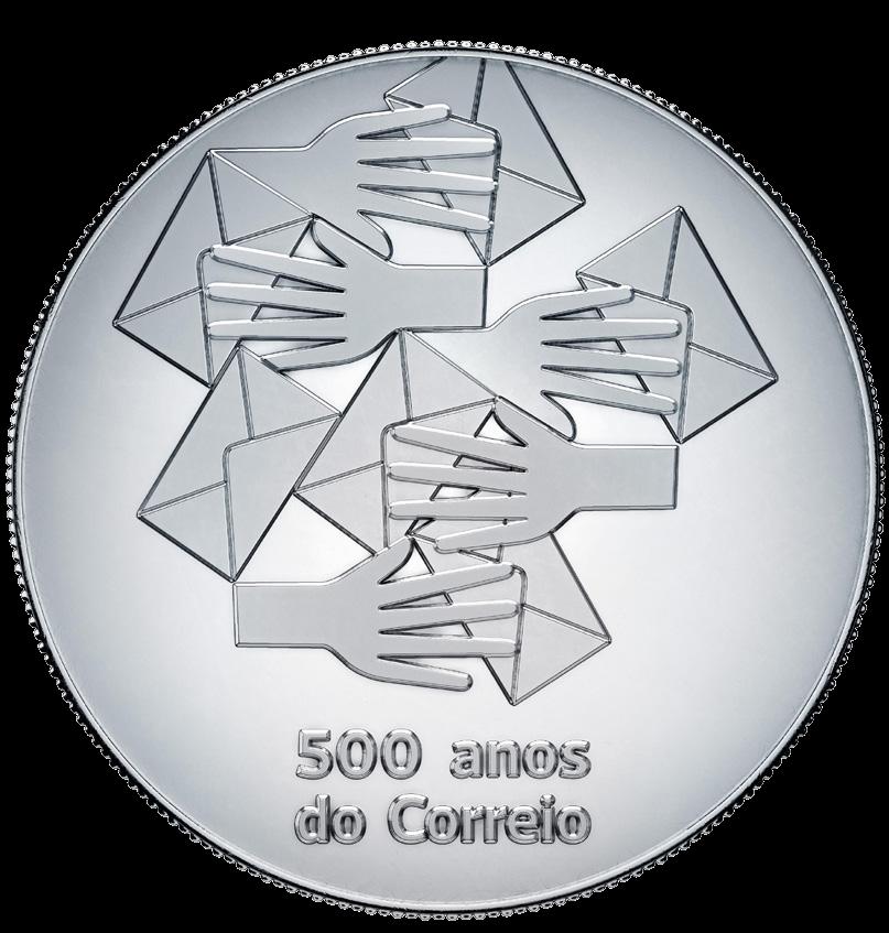 Португалия монета 5 евро 500 лет почте Португалии, реверс