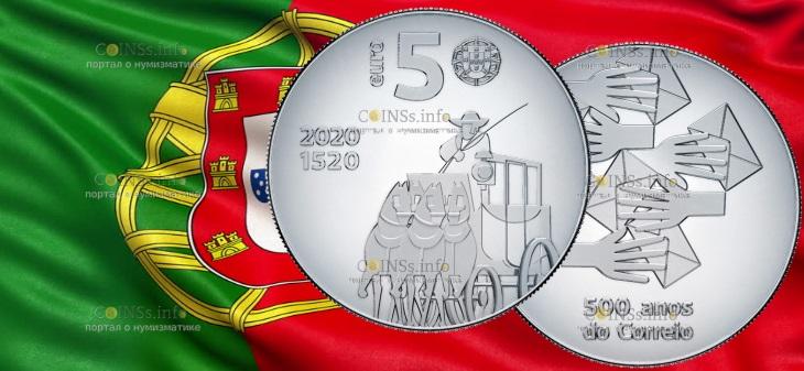 Португалия монета 5 евро 500 лет почте Португалии