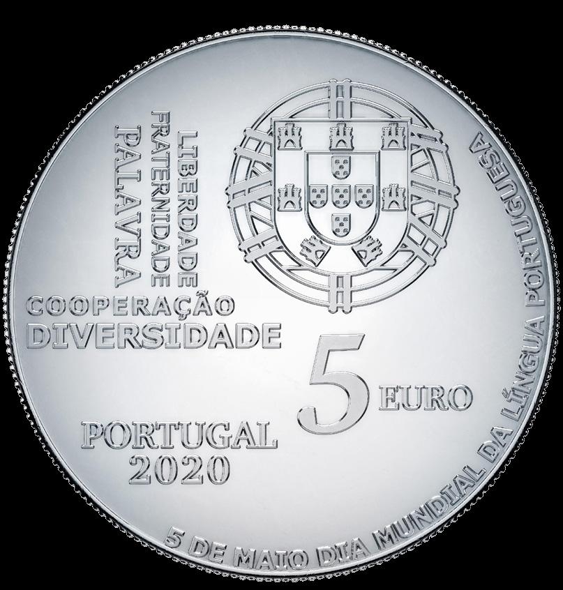 Португалия монета 5 евро Всемирный день португальского языка, аверс