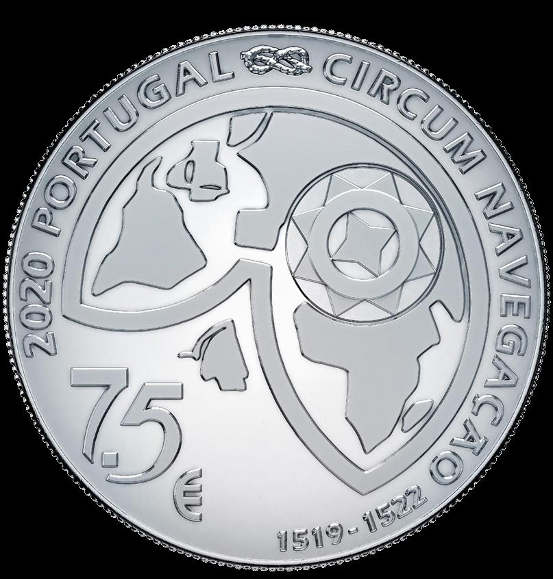 Португалия монета 7,5 евро 500 лет кругосветки Фернана Магеллана, аверс