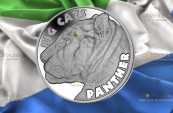 Сьерра Леоне монета 20 долларов Пантера
