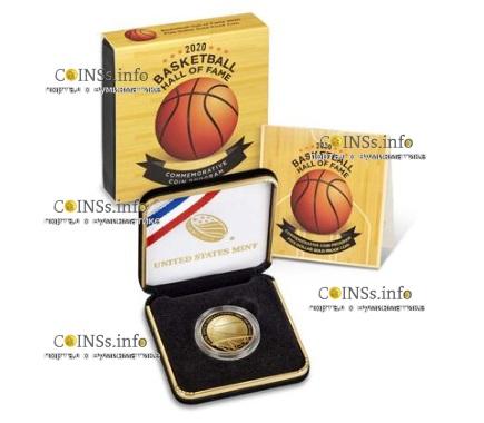 США выпускает монету 5 долларов Зал Славы Баскетбола 2020, подарочная упаковка