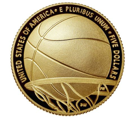 США выпускает монету 5 долларов Зал Славы Баскетбола 2020, реверс