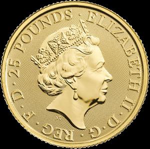 Великобритания монета 25 фунтов, аверс, 2020 год