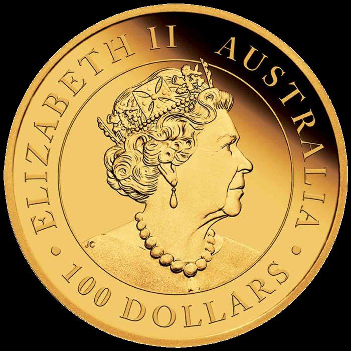 Австралия монета 100 долларов Китайский дракон, аверс