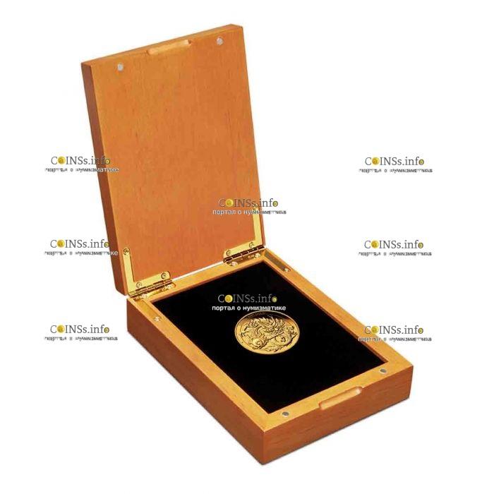 Австралия монета 100 долларов Китайский дракон, подаорочная упаковка