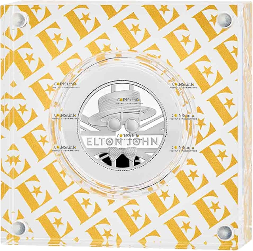 Британия монета 1 фунт Элтон Джон, подарочная упаковка
