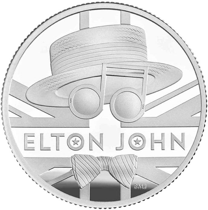 Британия монета 1 фунт Элтон Джон, реверс