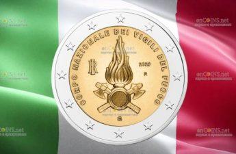 Италия монета 2 евро Национальная пожарная служба