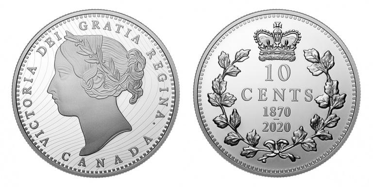Канада монета 10 центов 150 лет выпуска первых монет Конфедерации