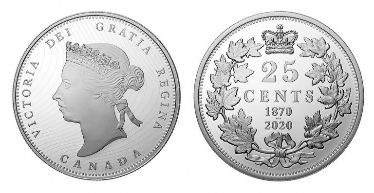 Канада монета 25 центов 150 лет выпуска первых монет Конфедерации
