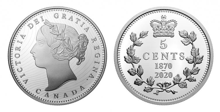 Канада монета 5 центов 150 лет выпуска первых монет Конфедерации