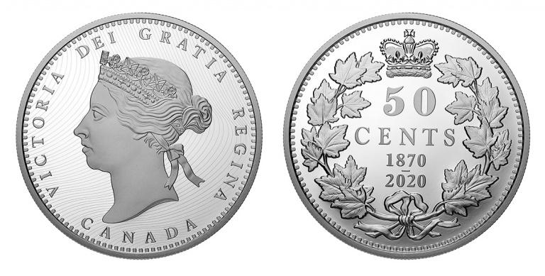 Канада монета 50 центов 150 лет выпуска первых монет Конфедерации