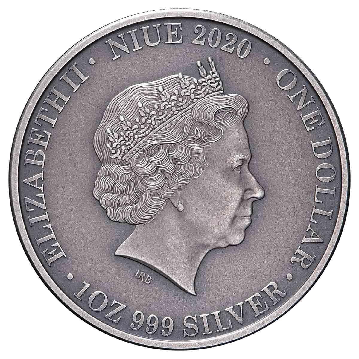 Ниуэ монета 1 доллар Плащеносная ящерица, аверс