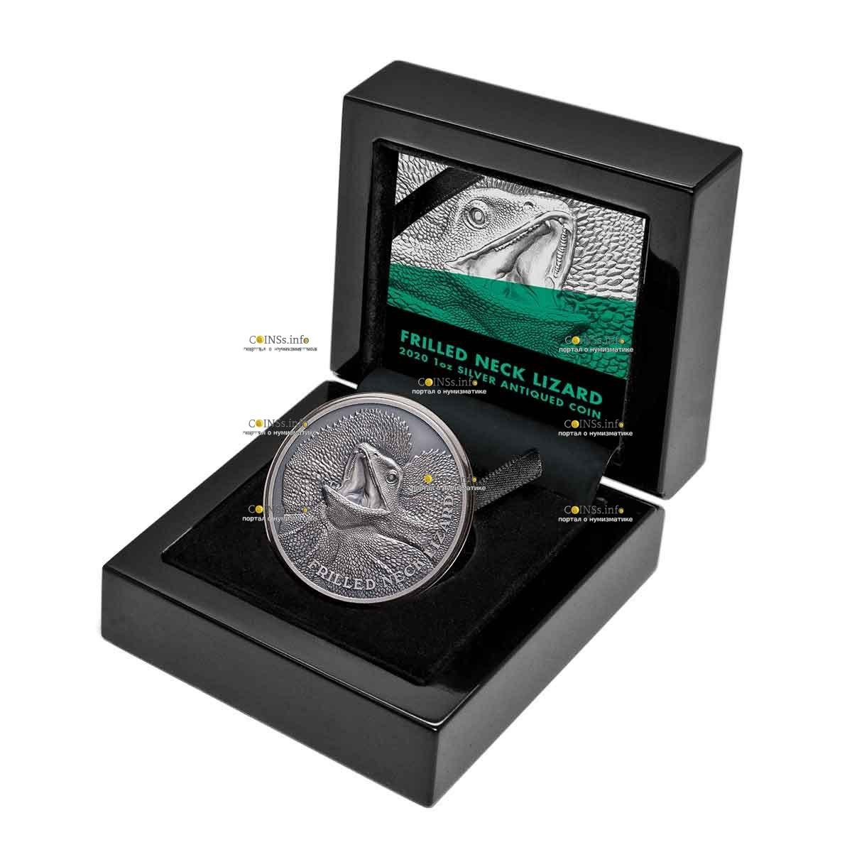Ниуэ монета 1 доллар Плащеносная ящерица, подарочная упаковка