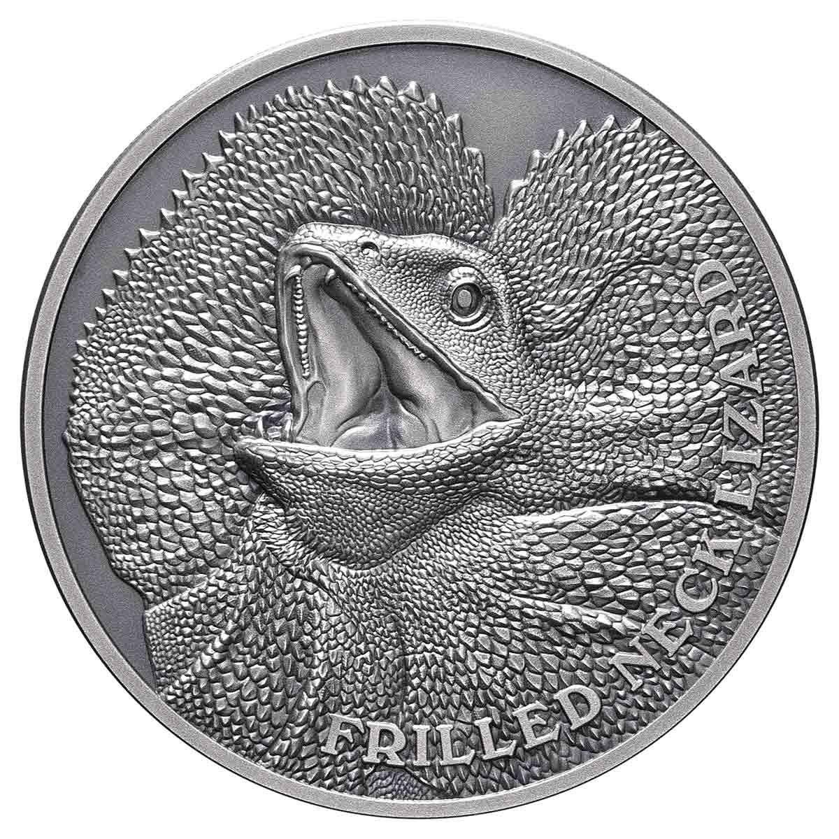 Ниуэ монета 1 доллар Плащеносная ящерица, реверс