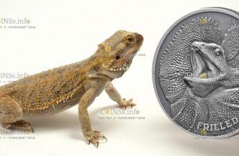 Ниуэ монета 1 доллар Ящерица с оборкой на шее