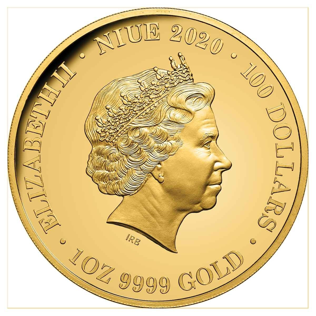 Ниуэ монета 100 долларов Плащеносная ящерица, аверс