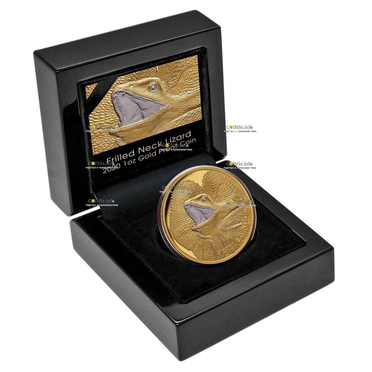 Ниуэ монета 100 долларов Плащеносная ящерица, подарочная упаковка