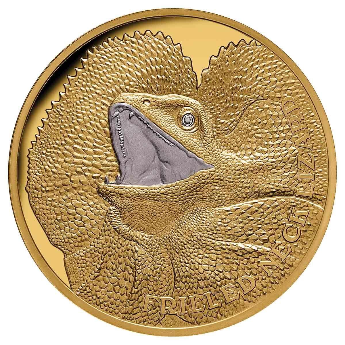 Ниуэ монета 100 долларов Плащеносная ящерица, реверс