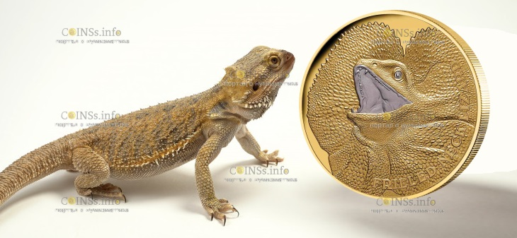 Ниуэ монета 100 долларов Ящерица с оборкой на шее