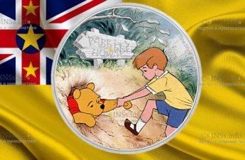 Ниуэ монета 2 доллара Винни-Пух и Кристофер Робин