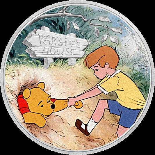 Ниуэ монета 2 доллара Винни-Пух и Кристофер Робин, реверс