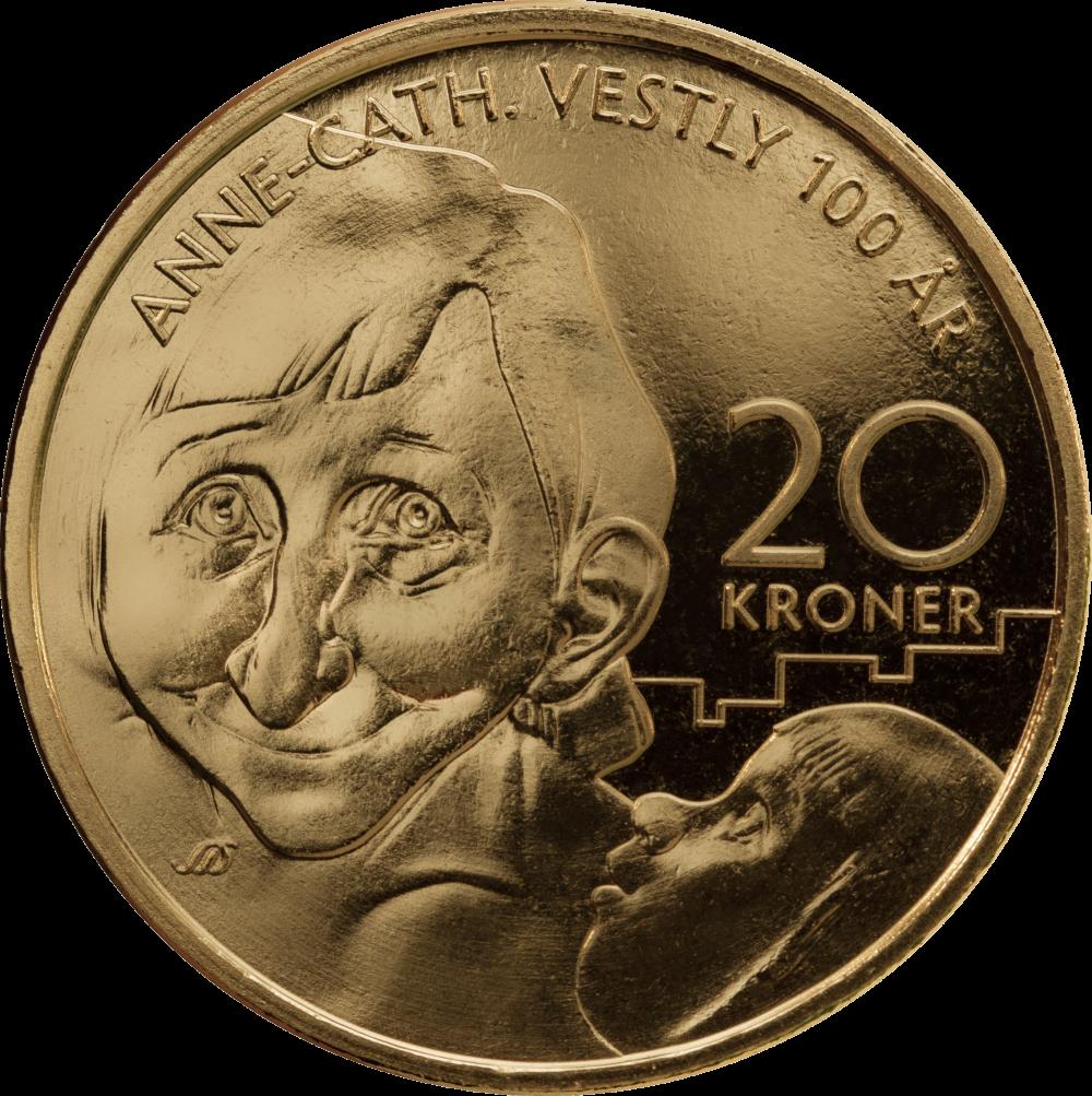 Норвегия монета 20 крон Анна-Катарина Вестли, реверс