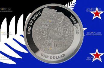 Новая Зеландия монета 1 доллар 75 лет Великой Победы