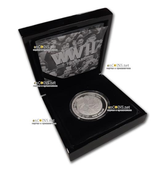 Новая Зеландия монета 1 доллар 75 лет Великой Победы, подарочная упаковка