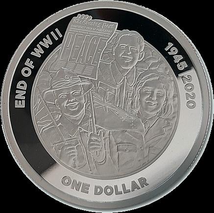 Новая Зеландия монета 1 доллар 75 лет Великой Победы, реверс