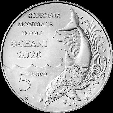Сан-Марино монета 5 евро Всемирный день океанов, аверс
